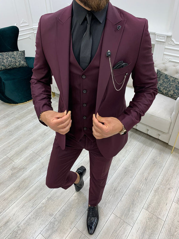 Claret Red Slim-Fit Suit 3-Piece