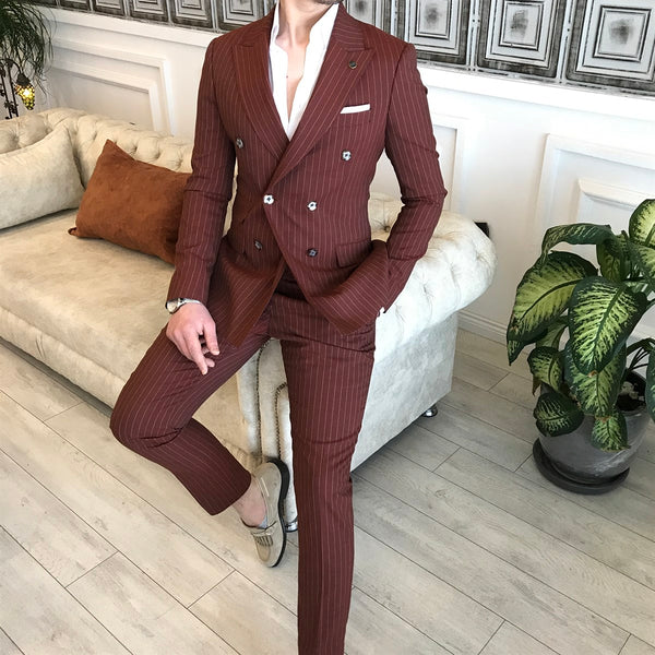 Brick Striped Double Breasted Suit 2-Piece