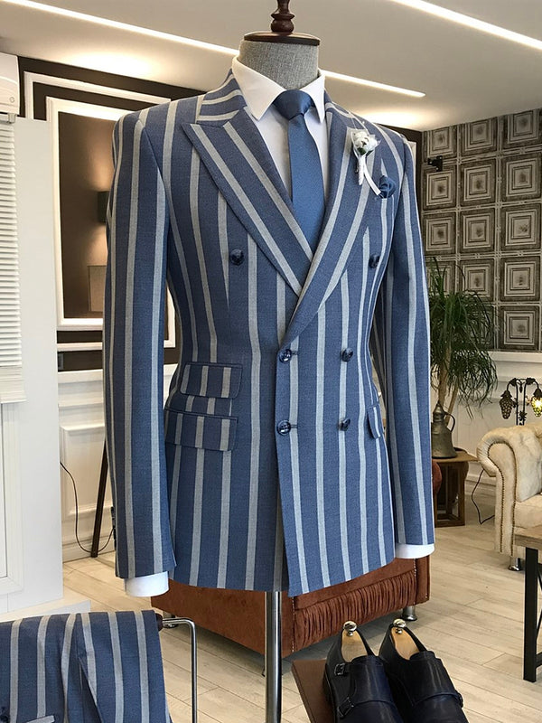 Blue Striped Double Breasted Suit 2-Piece
