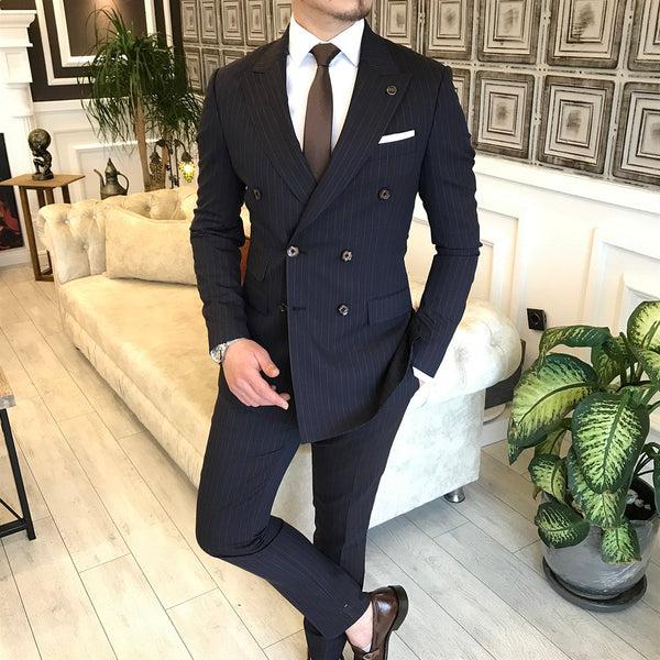 Deep Navy Striped Double Breasted Suit 2-Piece