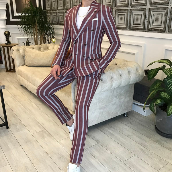 Bordeaux Striped Double Breasted Suit 2-Piece