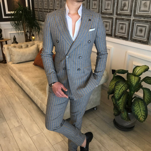 Grey Striped Double Breasted Suit 2-Piece
