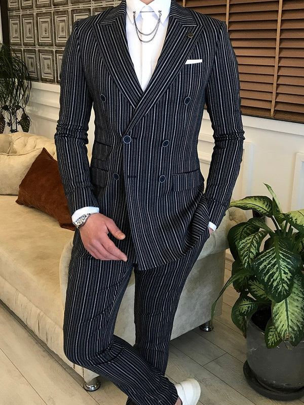 Black Striped Double Breasted Suit 2-Piece