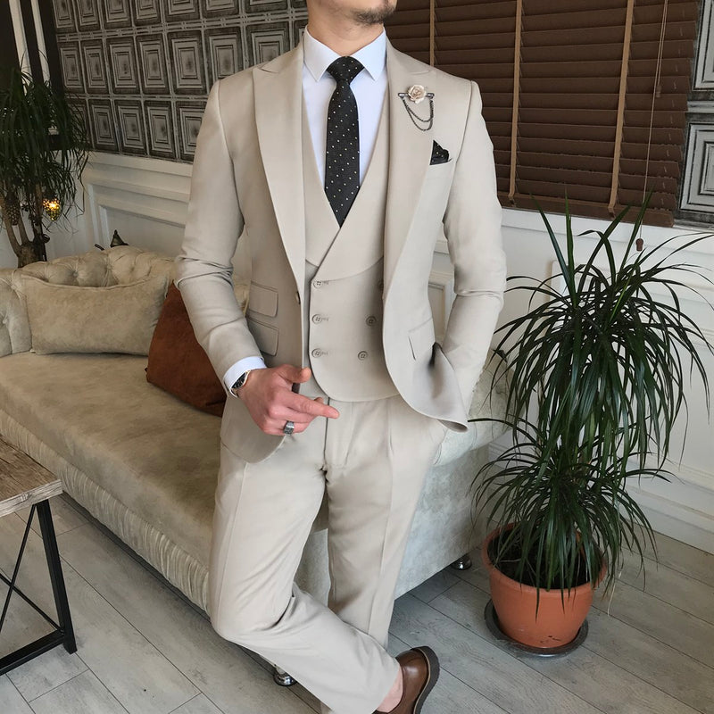 Beige Slim-Fit Suit 3-Piece