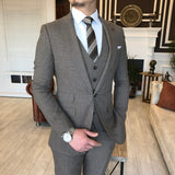 Brown Slim-Fit Suit 3-Piece