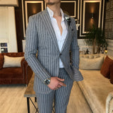 Grey Striped Slim-Fit Suit 2-Piece