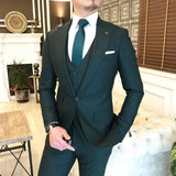 Dark Green Slim-Fit Suit 3-Piece