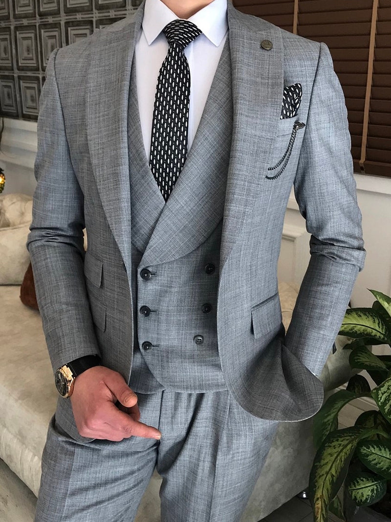 Grey Slim-Fit Suit 3-Piece