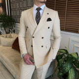 Beige Double Breasted Suit 2-Piece