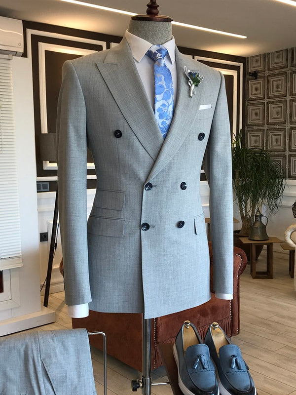 Light Grey Double Breasted Suit 2-Piece