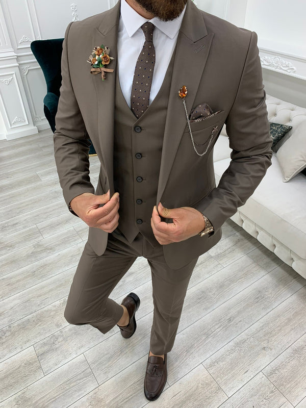 Coffee Slim-Fit Suit 3-Piece