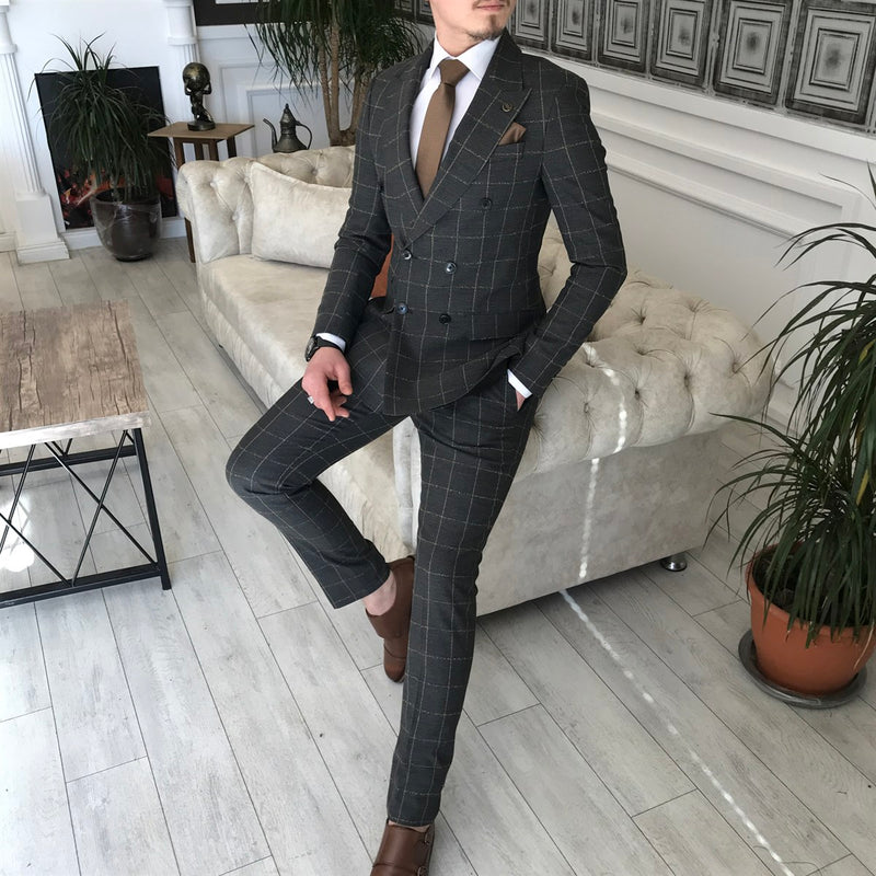 Grey Plaid Double Breasted Suit 2-Piece