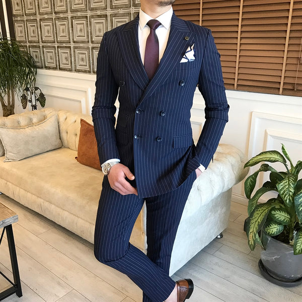 Navy Striped Double Breasted Suit 2-Piece