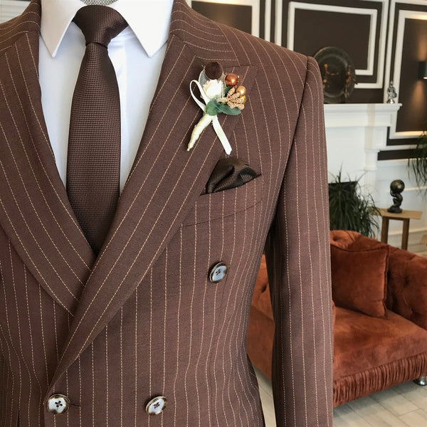 Brown Striped Double Breasted Suit 2-Piece
