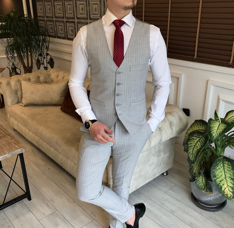 Light Grey Striped Slim-Fit Suit 3-Piece