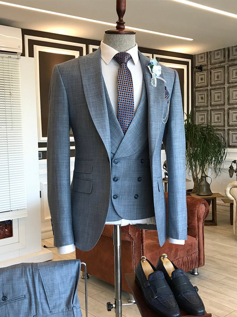 Blue Slim-Fit Suit 3-Piece