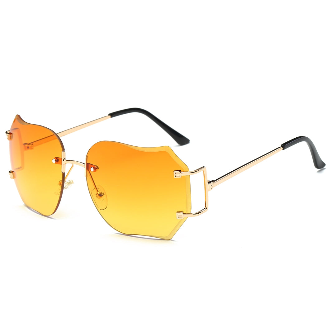 Oversized Designer Clear Lens Sunglasses Rimless Metal Frame Eye Glasses Lady SU - Gaby.shop