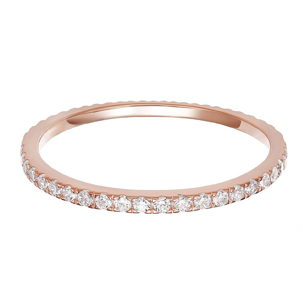 14K Rose Gold Plated Silver Cubic Zirconia Stackable Eternity Ring - Size 7 - Gaby.shop
