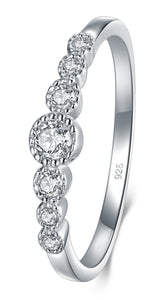 Sterling Silver Cubic Zirconia CZ Diamond Eternity Engagement Wedding Band Ring Size 7.5 - Gaby.shop