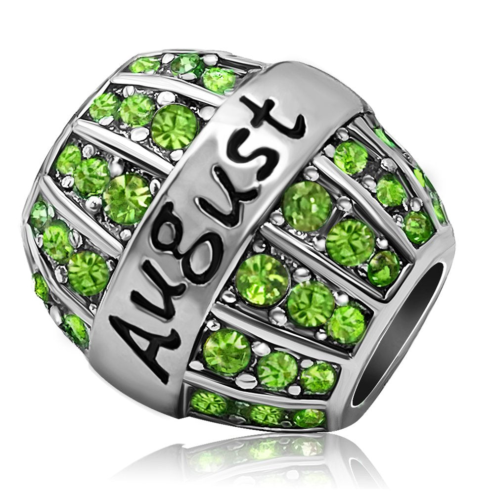 JMQJewelry Birthday Charms Bead For Bracelets (Green, August Birthstone) - Gaby.shop
