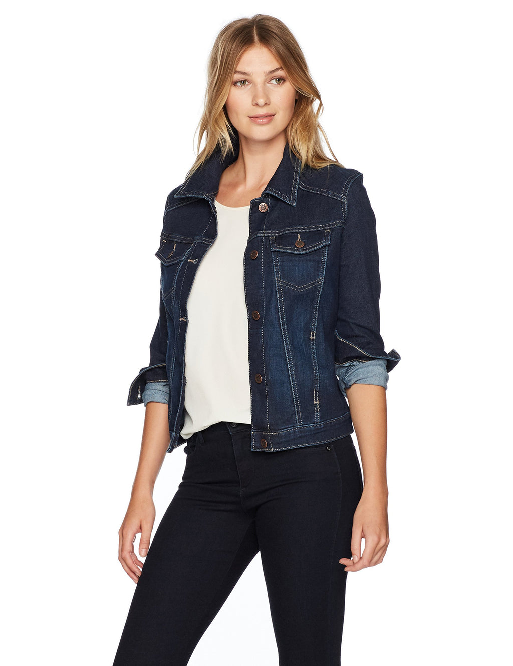 Riders by Lee Indigo Women's Stretch Denim Jacket, Drenched, Medium - Gaby.shop