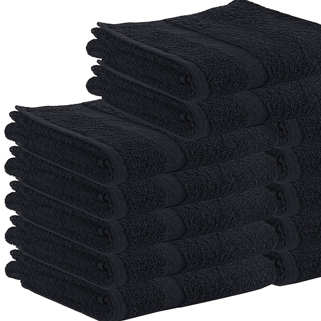 Salon Towels, 24 Pack (Not Bleach Proof, 16 x 27 Inches, Black) Hand and Gym Towels - Gaby.shop