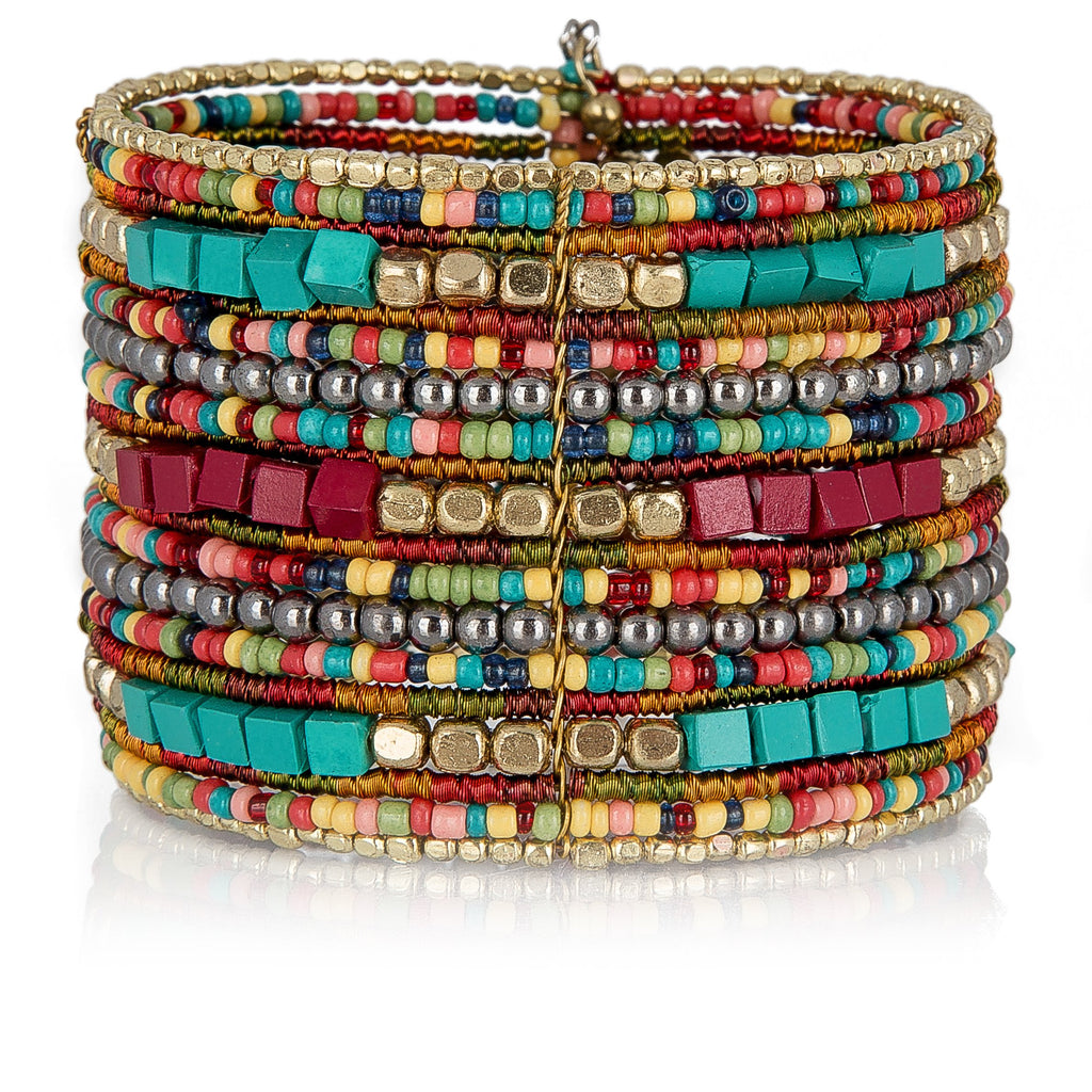 SPUNKYsoul Bohemian Multi-Colored Beaded Cuff Bracelets for Women - Gaby.shop