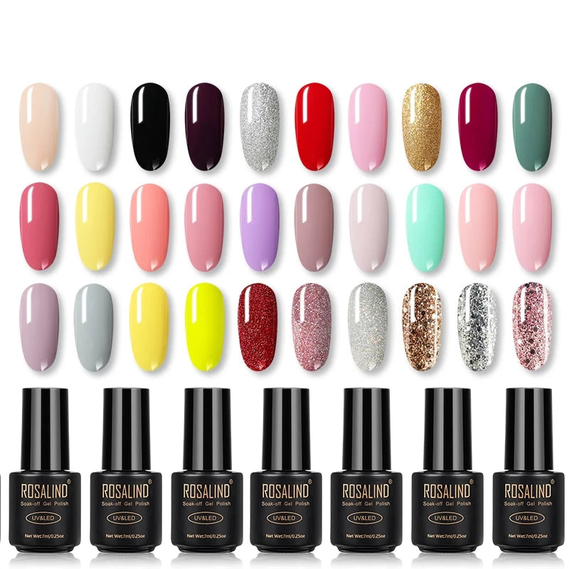 Gel Nail Polish Rainbow colors for nails art Manicure UV LED with Base Top coat - Gaby.shop
