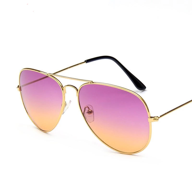 Double Colors Gradient Sunglasses Women Alloy Mirror Glasses Lady Retro Metal Glasses - Gaby.shop