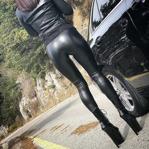 Women High Waist Leather Skinny Push Up Leggings Sexy Elastic Trousers Stretch Plus Size Jeggings - Gaby.shop
