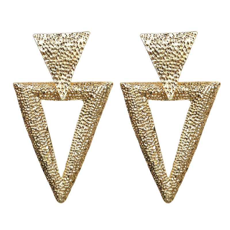 Geometric Gold Metal Pendant Earrings Trend Fashion Jewelry - Gaby.shop