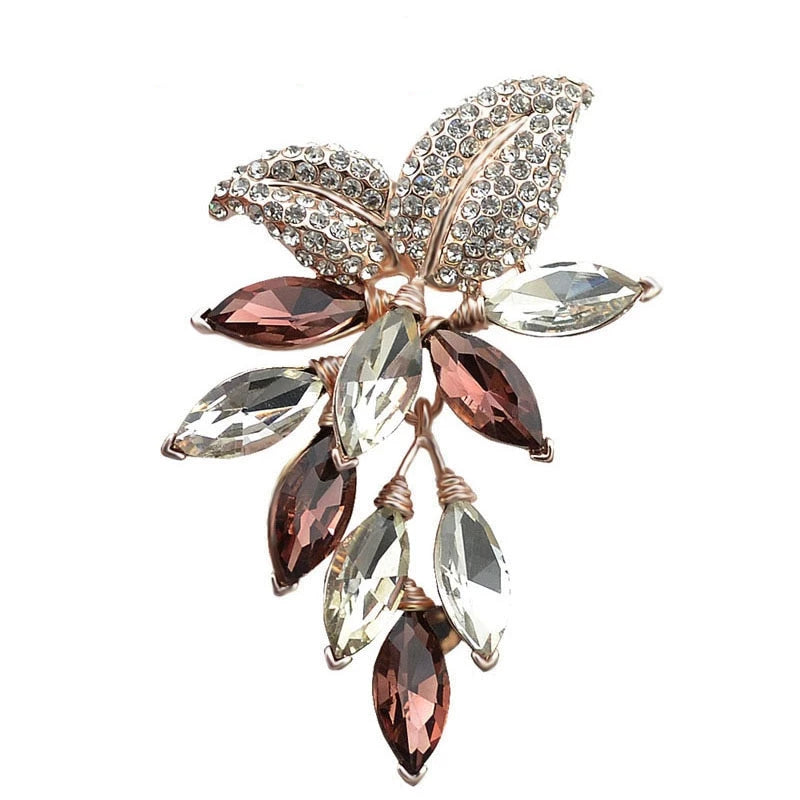 Big Crystal Flower Large Brooch Grape Pins and Brooches Wedding Jewelry - Gaby.shop