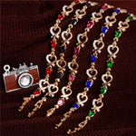 New 5 colors Beautiful Bracelet for Women Colorful Austrian Crystal Fashion Heart Chain Bracelet Wholesale - Gaby.shop