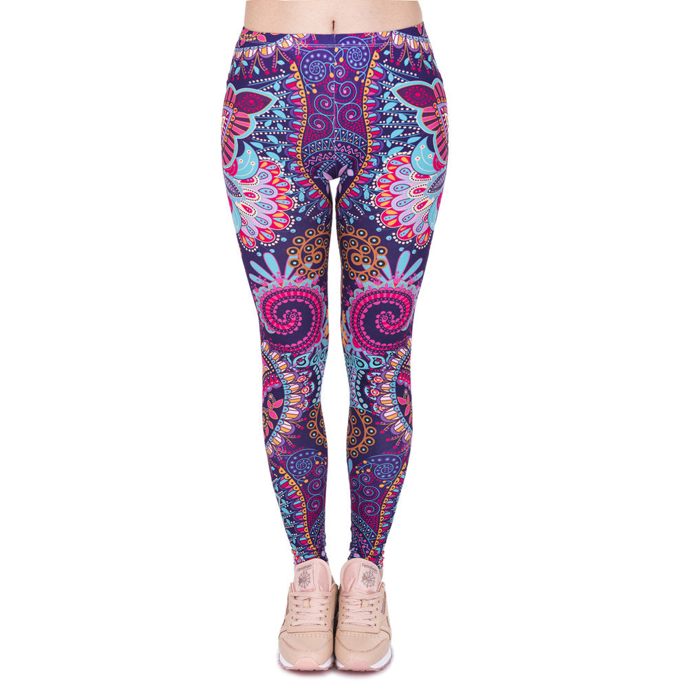 Brands Women Fashion Legging Aztec Round Ombre Printing leggins Slim High Waist  Leggings Woman Pants - Gaby.shop