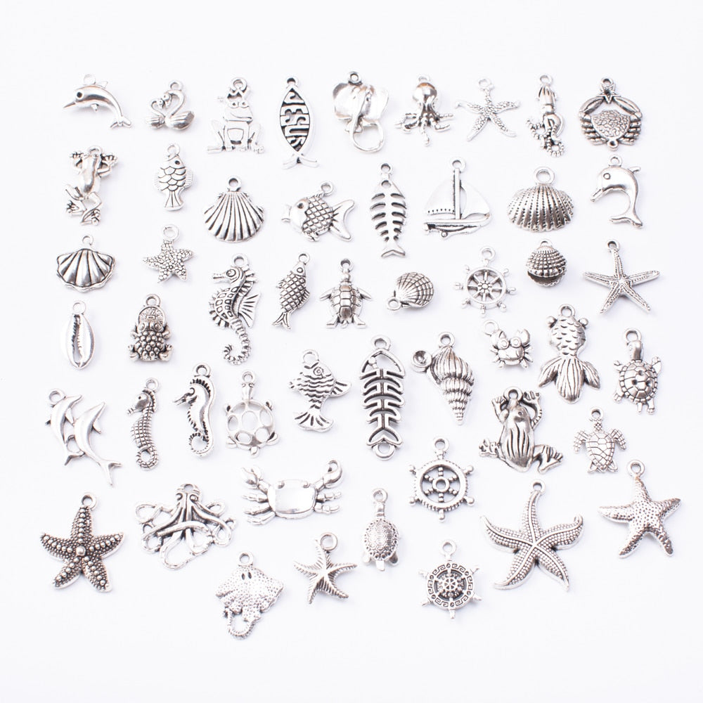Marine animal 50pcs Tibetan Silver Mixed Styles  Charms Pendants DIY Jewelry for Necklace Bracelet Making Accessaries - Gaby.shop