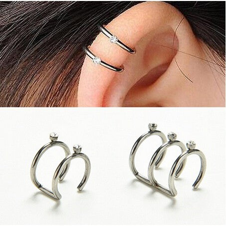Fashion Medical Steel C-shaped Fake Pop Jewelry Earrings Ear Buckle - Gaby.shop