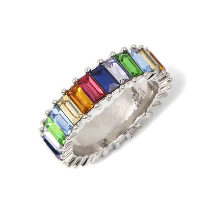 Sterling Silver 925 thin gold ring line micro pave cz eternity 9 colors stack 925 silver rainbow cz women rings - Gaby.shop