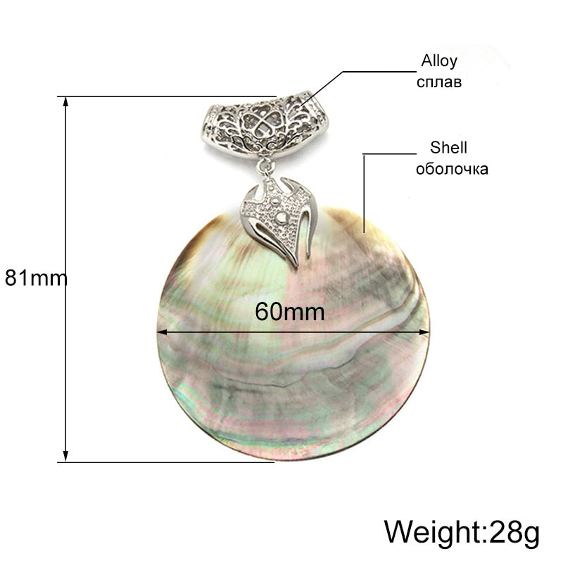 Vintage Natural Mother of Pearl Shell Pendant Antique Silver Plated Abalone Shell Pendants Charms Jewelry Making