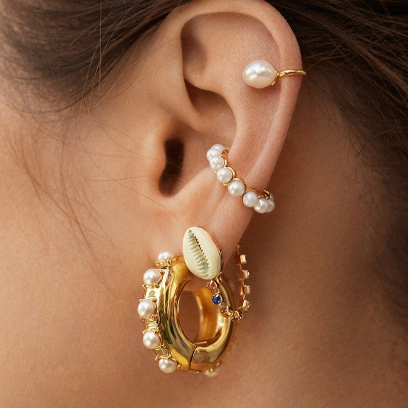 Bohemian Imitation Pearls Ear Cuff For Women Girl Trendy Round Small Clip Earrings NO Piercing Gold Metal Wedding Jewelry - Gaby.shop