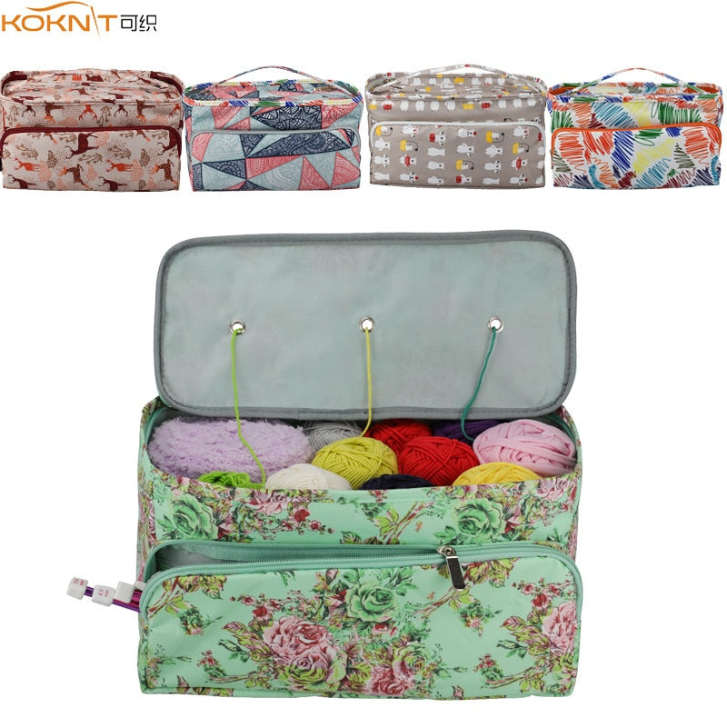 KOKNIT 12 Styles Knitting Bag Organizer Yarn Storage Case For Crocheting Hook Knitting Needles Wool Storage Tote Bag For Women - Gaby.shop