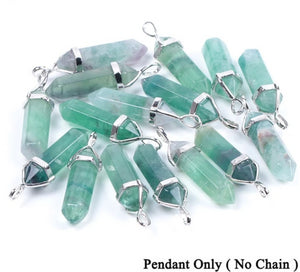 Fluorite Necklaces Crystal Pendants Natural Gem Stone Quartz Bullet Hexagonal Pendulum Reiki Chakra Suspension Jewelry E546 - Gaby.shop