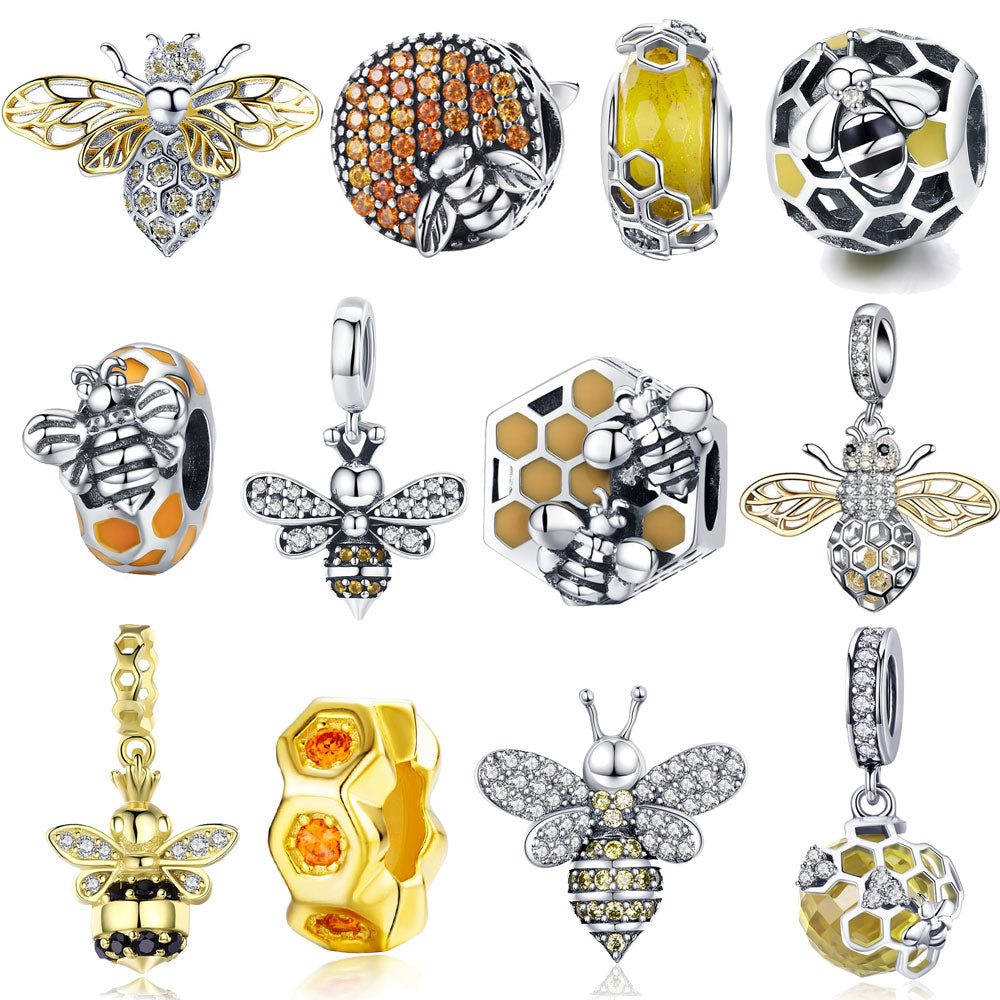 Charm Sterling Silver Crystal Bee Insect Beads fit for Bracelets Original Authentic Silver Jewelry - Gaby.shop