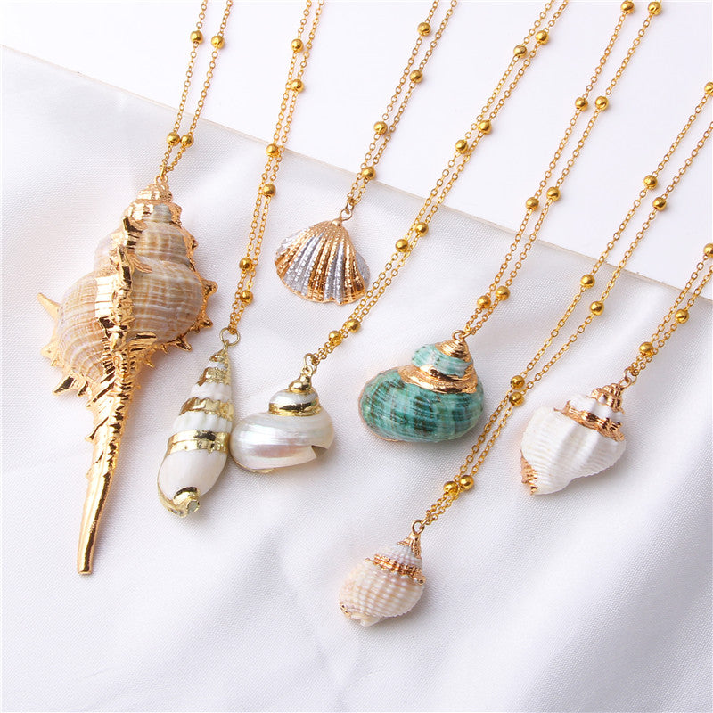2019 Boho Conch Shell Necklace Sea Beach Shell Pendant Necklace For Women Collier Femme Shell Cowrie Summer Jewelry Bohemian - Gaby.shop