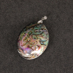 Vintage Silver Color Abalone Shell Pendants Charms 60*39mm Natural Mother of Pearl Shell Pendants For Jewelry Making