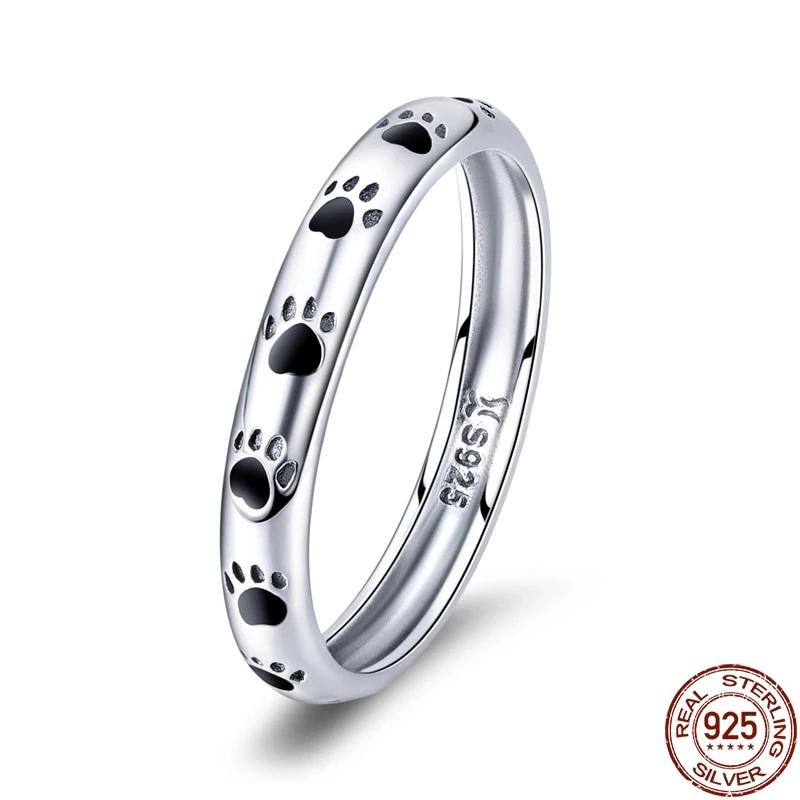 Sterling Silver Stackable Dog Cat Footprints Finger Rings for Women - Gaby.shop