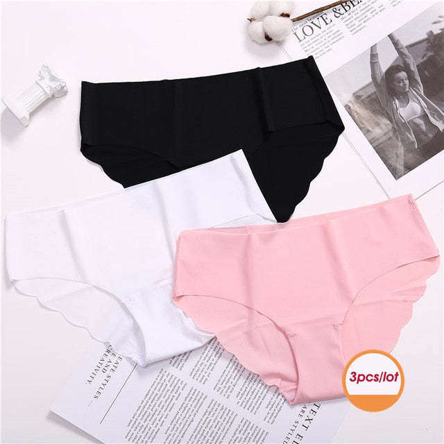 3Pcs/lot Seamless Panty Set Underwear Female Comfort Intimates Fashion Female Low-Rise Briefs 6 Colors Lingerie Drop Shipping - Gaby.shop