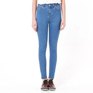 High Waist Elastic plus size Stretch Jeans female washed denim skinny pencil pants - Gaby.shop