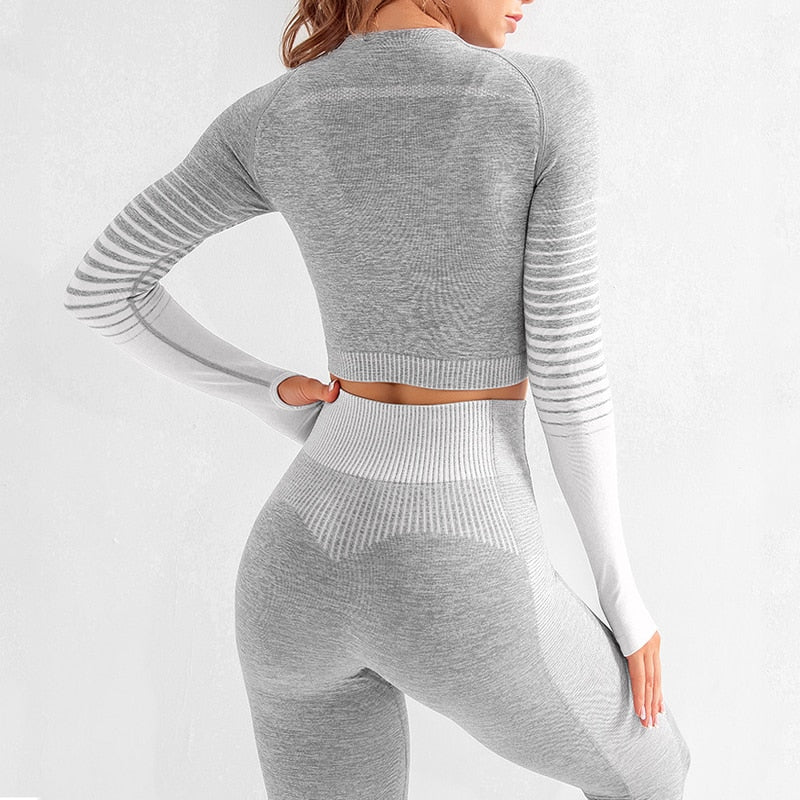 Long Sleeve Top High Waist Belly Control Sport Leggings Seamless Female Yoga Set - Gaby.shop
