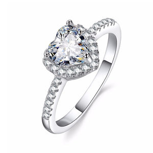Fashion Crystal Heart Shaped Wedding Rings Women's Zircon Engagement Rings - Gaby.shop