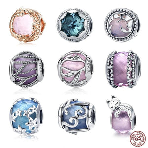 100% 925 Sterling Silver Nature Crystal Radiance Glass Charm Beads - Gaby.shop